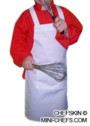 CHEFSKIN M SET (1 ADJUSTABLE HAT + 1 APRON) CHEF WHITE **MEDIUM** FITS Kids CHILDREN 8-12 EXCELLENT FOR SCHOOL PLAYS, HALLOWEEN, CHRISTMAS, HELP MOM, COOKING OR BAKING PARTIES AND MORE