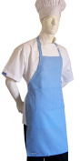 CHEFSKIN ADULT APRON BABY BLUE, ULTRA LIGHTWEIGHT COOL & FRESH, VERY COMFORTABLE, centre POCKET AND LONG TIES, WONT FADE WONT SHRINK, EASY TO WEAR