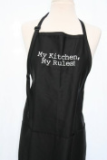"""Black Embroidered Apron """"My Kitchen, My Rules"""""""