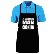 "Funny ""CAUTION - MAN COOKING"" Apron; One Size Fits Most - Medium Length Kitchen Aprons for Men, Women, Teen, & Kids (Unisex); Soft Cotton Polyester Mix with DuPont Teflon Fabric Protector. Great gift idea."