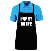 "Funny ""I LOVE (HEART) MY WIFE"" Apron; One Size Fits Most - Medium Length Kitchen Aprons for Men, Women, Teen, & Kids (Unisex); Soft Cotton Polyester Mix with DuPont Teflon Fabric Protector. Great gift idea."