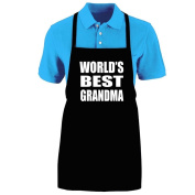 "Funny ""WORLD'S BEST GRANDMA"" Apron; One Size Fits Most - Medium Length Kitchen Aprons for Men, Women, Teen, & Kids (Unisex); Soft Cotton Polyester Mix with DuPont Teflon Fabric Protector. Great gift idea."