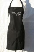 "Black Embroidered Apron ""Live Love & Eat"""