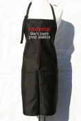 """Black """"Caution, Don't Burn Your Weenie"""" Embroidered Apron"""