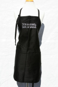 """Black Embroidered Apron """"It's a Comb Not a Wand"""""""