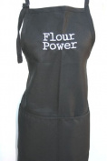 "Black Embroidered Apron ""Flour Power"""