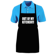 "Funny ""OUT OF MY KITCHEN!!!"" Apron; One Size Fits Most - Medium Length Kitchen Aprons for Men, Women, Teen, & Kids (Unisex); Soft Cotton Polyester Mix with DuPont Teflon Fabric Protector. Great gift idea."