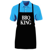 "Funny ""BBQ KING"" Apron; One Size Fits Most - Medium Length Kitchen Aprons for Men, Women, Teen, & Kids (Unisex); Soft Cotton Polyester Mix with DuPont Teflon Fabric Protector. Great gift idea."