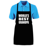 "Funny ""WORLD'S BEST GRANDPA"" Apron; One Size Fits Most - Medium Length Kitchen Aprons for Men, Women, Teen, & Kids (Unisex); Soft Cotton Polyester Mix with DuPont Teflon Fabric Protector. Great gift idea."