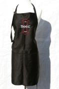 """Black Embroidered Apron """"Beer - in and out"""""""
