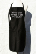 """Black Embroidered Deluxe Apron """"Beauty is in the eye of the beer holder"""""""