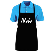 "Funny ""ALOHA"" Apron; One Size Fits Most - Medium Length Kitchen Aprons for Men, Women, Teen, & Kids (Unisex); Soft Cotton Polyester Mix with DuPont Teflon Fabric Protector. Great gift idea."