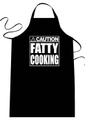 "Funny ""CAUTION - FATTY COOKING"" Apron; One Size Fits Most - Medium Length Kitchen Aprons for Men, Women, Teen, & Kids (Unisex); Soft Cotton Polyester Mix with DuPont Teflon Fabric Protector. Great gift idea."
