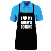 "Funny ""I LOVE (HEART) MY MOM'S COOKING"" Apron; One Size Fits Most - Medium Length Kitchen Aprons for Men, Women, Teen, & Kids (Unisex); Soft Cotton Polyester Mix with DuPont Teflon Fabric Protector. Great gift idea."