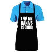 "Funny ""I LOVE (HEART) MY NANA'S COOKING"" Apron; One Size Fits Most - Medium Length Kitchen Aprons for Men, Women, Teen, & Kids (Unisex); Soft Cotton Polyester Mix with DuPont Teflon Fabric Protector. Great gift idea."