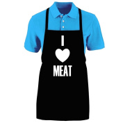 "Funny ""I LOVE MEAT"" Apron; One Size Fits Most - Medium Length Kitchen Aprons for Men, Women, Teen, & Kids (Unisex); Soft Cotton Polyester Mix with DuPont Teflon Fabric Protector. Great gift idea."