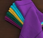 Hemstitch Dinner Napkins Purple 1 Dozen