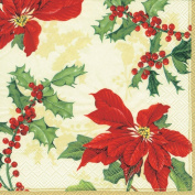 Ideal Home Range Cocktail Decorative Paper Napkins, Floral Christmas on Cream, 20 Count