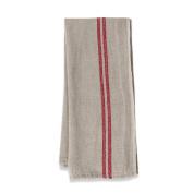 Couleur Nature Khadhi Tea Towels, 50.8cm by 76.2cm , Linen Red Stripe, Set of 2