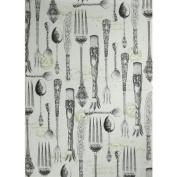 Antique Cutlery Motif Printed Tea Towel