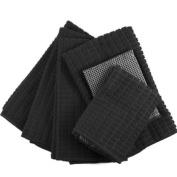 Black Microfiber 6 Piece Kitchen Towel Set