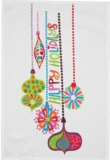 Winter Whimsy Happy Holidays Ornaments Print Kitchen Dish Towel Split P