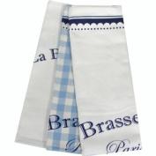 Blue and White Brasserie Set of 3 Dishtowels