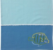 Coastal Swim with the Fish Embroidered Cotton Dish Towel Split P
