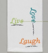Embroidered Live Love Laugh White Kitchen Dish Towel Split P