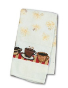 Java Shop Coffee Cups Border Terry Towel