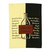 Souvenirs of France - 'Wines of France' Dish Towel - Colour : Beige / Black