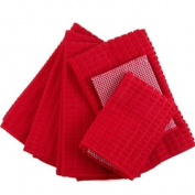 Red Microfiber 6 Piece Kitchen Towel Set