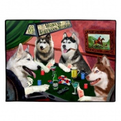 Home of Siberian Huskies 4 Dogs Playing Poker Floormat 45.7cm x 61cm