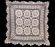 Handmade Crochet Lace Centrepiece Doily. 61cm Square. Beige Colour.