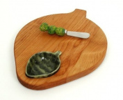 Out of the Woods of Oregon Artichoke Shaped Serving Board with Dipping Bowl and Spreader