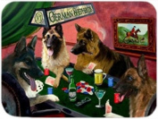 German Shepherd 4 Dogs Playing Poker Large Tempered Cutting Board 40cm x 30cm x 0.4cm
