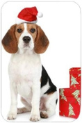 Beagle Holiday Dog Tempered Cutting Board