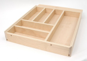 Pure Birch Hardwood Italian Crafted Cutlery and Silverware Tray, Large
