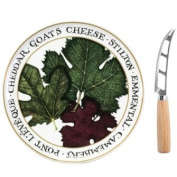 Cheese Set - Porcelain Platter And Stainless Steel Knife
