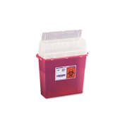 Sharps Containers, Rectangular, Plastic, 3 gal, Red/Clear