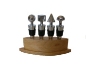 Happy Hour 10441 4-Piece Geometric Stopper Set with Wooden Stand