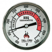 Tel-Tru BQ300 Barbecue Thermometer, 7.6cm aluminium zoned dial, 6.4cm stem, 100/500 degrees F