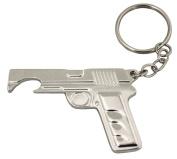 Island Dogs Gun Bottle Opener Keychain, Silver