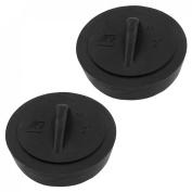 5.1cm Diameter Water Sink Plug Black Rubber Disposal Stopper 2 Pcs
