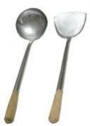 35.6cm L. X 10.2cm Home Use Stainless Hand-tooled Chuan & Hoak (Spatula & Ladle) Set