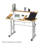 Adjustable Split Level Workstation, 47-1/4w x 29-3/4d x 37-1/4h, Medium Oak/Gray