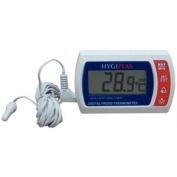 Hygiplas Digital Fridge/Freezer Thermometer - Dual sensors for fridge and external temperatures.