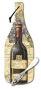 CounterArt Vineyards Wine Bottle Shaped 12-1.3cm Glass Cheese Board with Spreader Knife
