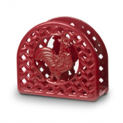 Anchor Hocking Red Cast Iron Country Rooster Napkin Holder