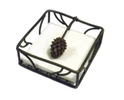 Metal Pine Cone Napkin Holder With Pine Cone Weight-14cm Square